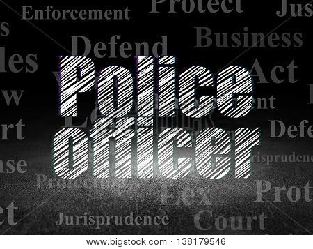 Law concept: Glowing text Police Officer in grunge dark room with Dirty Floor, black background with  Tag Cloud
