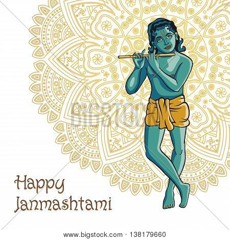 Hindu young god Lord Krishna. Happy janmashtami vector art