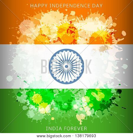 India independence day flag with paint spots. Illustration for national patriotic holiday of democracy and freedom.