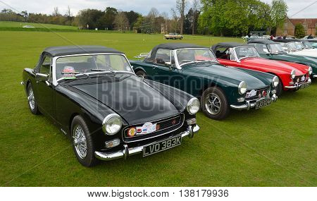 Saffron Walden, Essex, England - April 24, 2016: Classic MG B motor cars parked on grass..