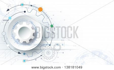 Vector futuristic technology background 3d white paper gear wheel on circuit board. Illustration hi-tech engineering digital telecoms concept. With space for content, web, template ,business, tech and presentation