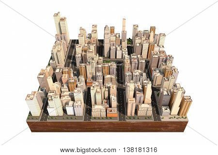 City scape with trees and streets. High buildings. Model of town isolated on the white. Floating island as toy. 3D render.