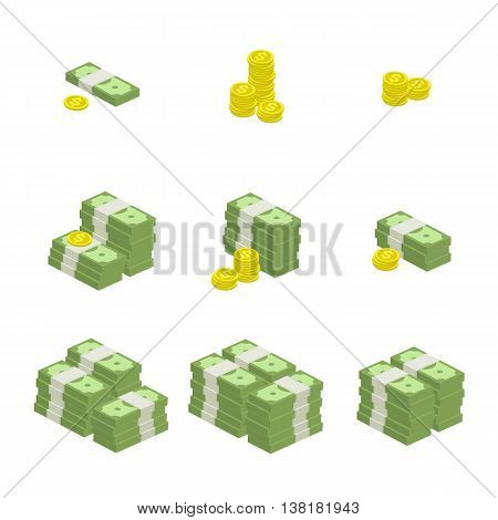 Vector illustration of pile of money. Set of cash and coin flat icon, American dollars, pack, packet, parcel, batch, package. Modern design isolated on white background. Modern currency icons.