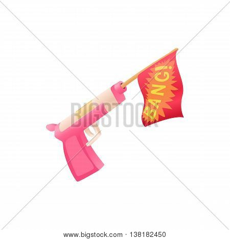 Revolver shooting out red flag icon in cartoon style on a white background