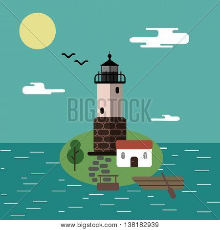 Lighthouse on the island with a boat