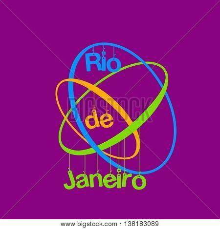 Rio de Janeiro symbols sport background easy all editable