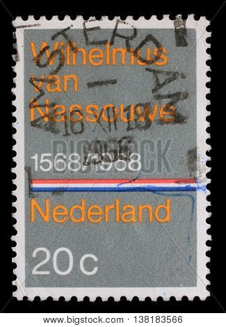 ZAGREB, CROATIA - JULY 03: A stamp printed in the Netherlands issued for the 400th anniversary of Dutch National Anthem shows Wilhelmus van Nassouwe, circa 1968, on July 03, 2014, Zagreb, Croatia