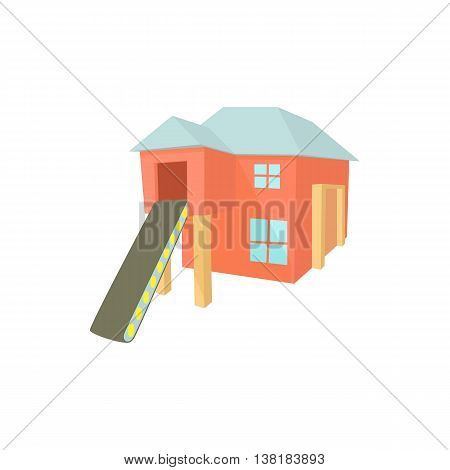 Sawmill building icon in cartoon style on a white background