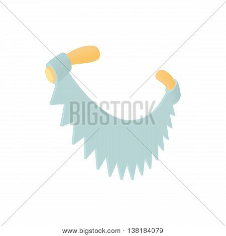Two handled saw icon in cartoon style on a white background