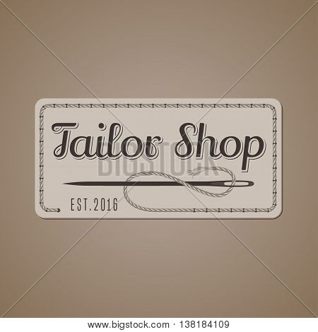 Tailor shop vector logo sign emblem. Vintage retro design element for tailoring and sewing craft service