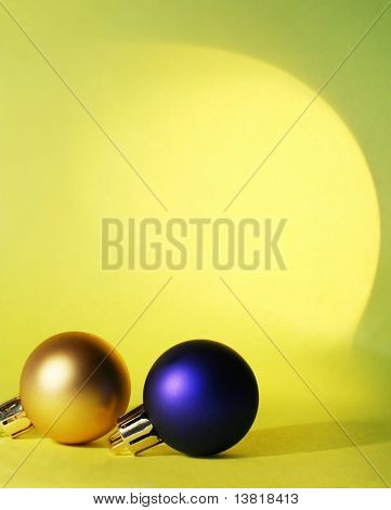 Gold and blue christmas ball