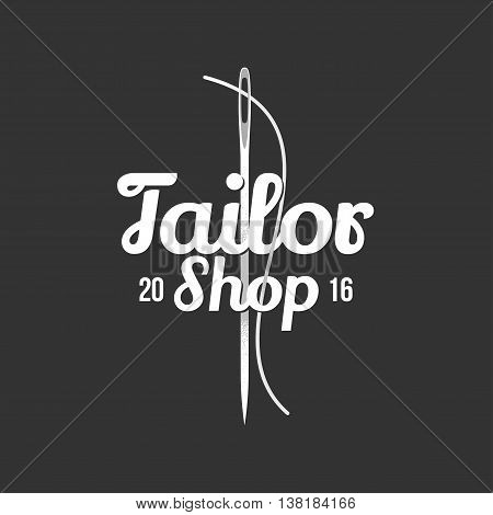 Tailor shop vector logo sign emblem. Isolated design element for sewing and tailoring craft service with needle making a stitch