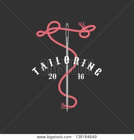 Tailor shop vector logo sign emblem. Design element for clothes sewing and tailoring