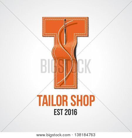 Tailor shop vector logo sign emblem. Design element for sewing and tailoring craft service with needle making a stitch