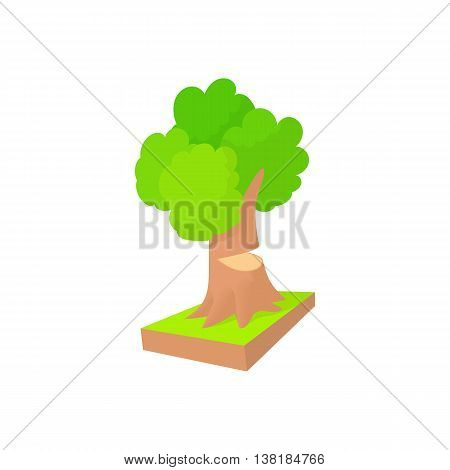 Tree to saw cut icon in cartoon style on a white background