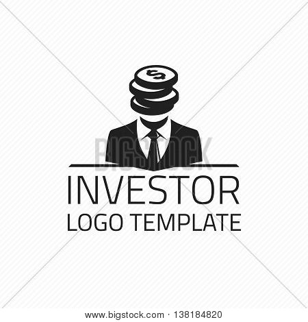 Investor vector logo design template. Vector logo template rich, successful person. Logo of money.
