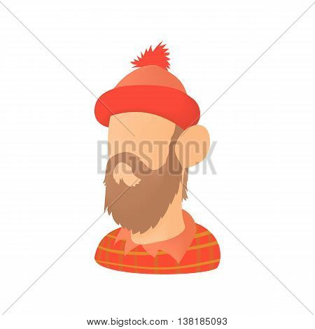 Lumberjack icon in cartoon style on a white background