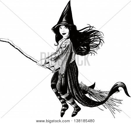 Little witch flying on her broom develop her dress and hair