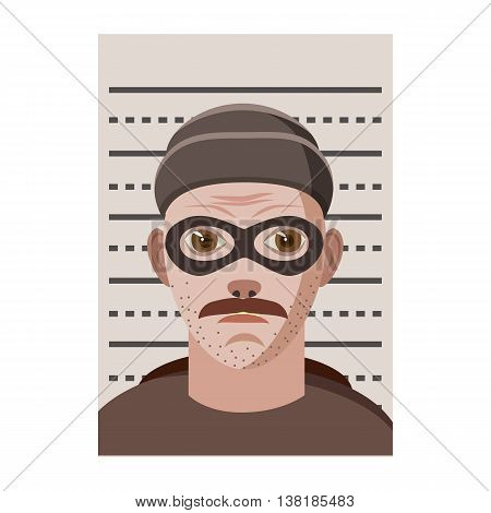 Man arrested photo in police icon in cartoon style on a white background