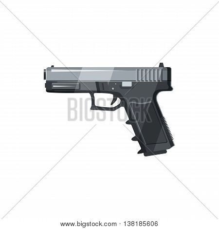 Gun icon in cartoon style on a white background