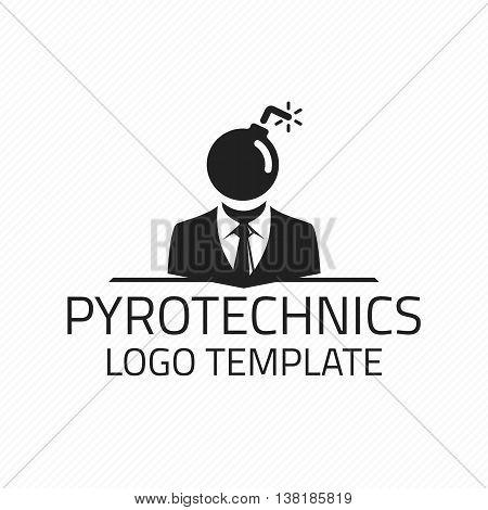 Pyrotechnics vector logo design template. Vector logo template bomb, fireworks. Logo Pyrotechnics.
