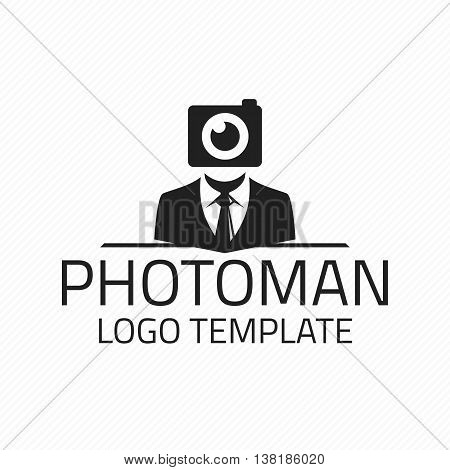 Vector photographer Design Element in Vintage Style for Logotype, Label, Badge and other design. Vector logo template for Photographer, photo studio.