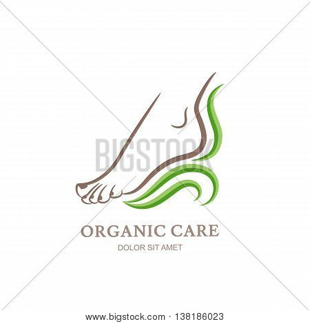 Womens foot in green leaves. Abstract design concept for beauty salon, pedicure, cosmetic, organic care and spa. Vector logo design template.