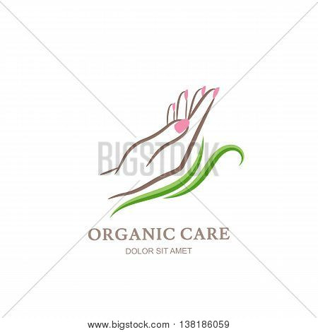 Womens hand in green leaves. Abstract design concept for beauty salon, manicure, cosmetic, organic care and spa. Vector logo design template.
