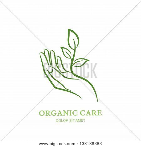 Womens hand with green plant and leaves. Vector logo, label, emblem design elements. Abstract concept for beauty salon, manicure, cosmetic, organic care and spa. Female elegant hand silhouette.