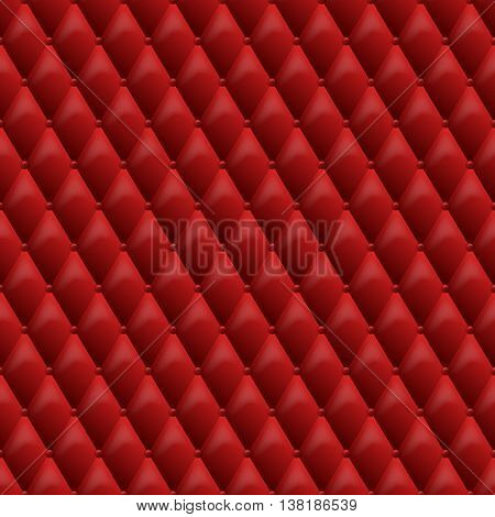 Seamless red leather texture. Vector leather background. Luxury textile design, interior and furniture decoration concept.