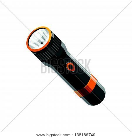 Flashlight icon in cartoon style on a white background