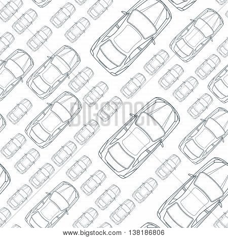 Vector seamless monochrome pattern with outline cars. Top view isolated line car icons. Street traffic, parking, transport or car repair service concept. Automobile simple background.