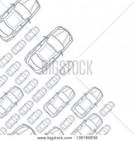 Vector monochrome background with outline cars. Top view isolated line car icons. Street traffic, parking, transport or car repair service design concept. Automobile simple background.