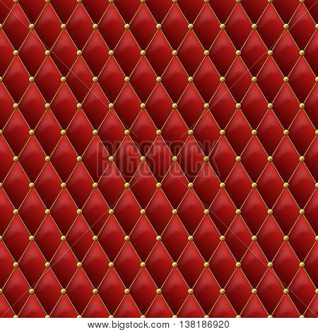 Seamless red leather texture with gold metal details. Vector leather background with golden buttons. Luxury textile design, interior and furniture decoration concept.
