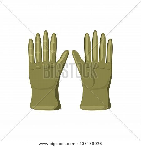 Khaki colored gloves icon in cartoon style on a white background