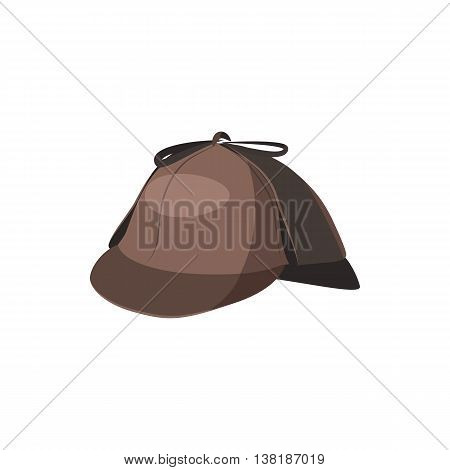 Detective Sherlock Holmes hat icon in cartoon style on a white background