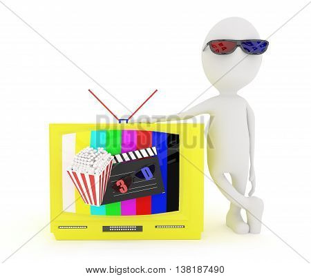 3D White Character Wearing 3D Glass And Standing Near To Television With 3D Support , A Clapboard An