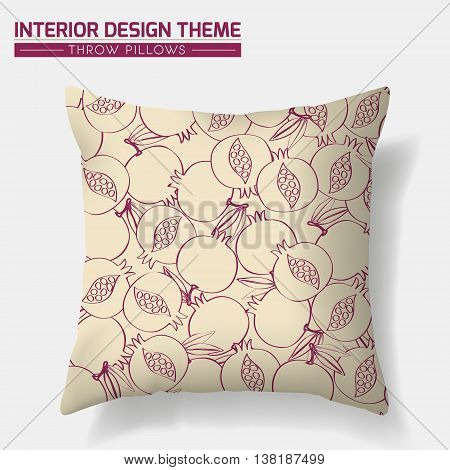 Decorative Pomegranate Pattern Throw Pillow design vector template. Original pattern is complete masked. Interior design element. Creative Sofa cushion. Vector design is layered editable