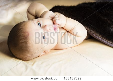 New Born baby laying on back looking to camera