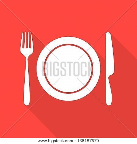 Vector illustration of a flat plate and cutlery with long shadows. Kitchen icon of dish. White silhouette of fork, knife and plate.