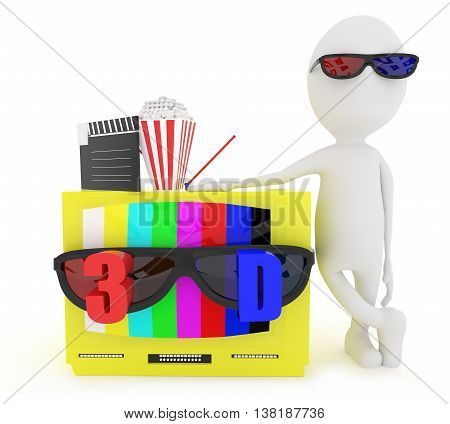 3D White Character Wearing 3D Glass And Standing Near To Television With Stereoscopic 3D Support Wit