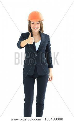 Businesswoman architect  thumps up isolated on white background