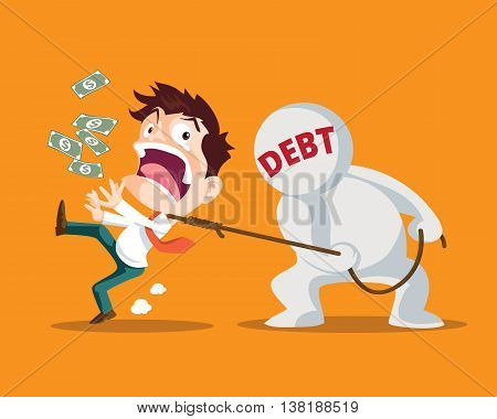 Businessman running away from Debt Man strangled by Debt is inevitable Debt Man pulling businessman