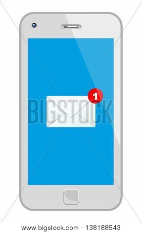 White Smart Phone With Mail. Vector Illustration Of A Smart Phone With An Incoming Mail. No Transparency. Global Colors Used.