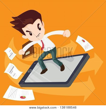 Man businessman on surf Search information using smartphone.Fast speed mobile internet surfing.