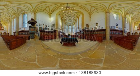 CLUJ-NAPOCA, ROMANIA - December 13: 360 panorama of the middle of the Reformed Church on Farkas/Kogălniceanu Street with a coat-of-arms exhibition on December 13th, 2015, in Cluj-Napoca, Transylvania, Romania.