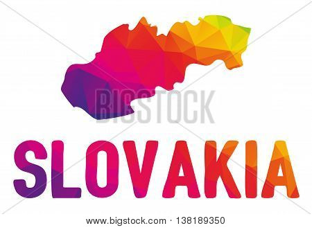 Low Polygonal Map Of Slovakia  In Warm Colors, Mosaic Abstract Geometry Cartography