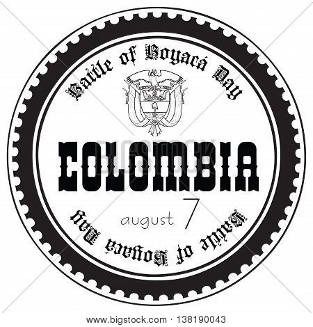 Stamp imprint for the holiday Battle of Boyaca Day Colombia.