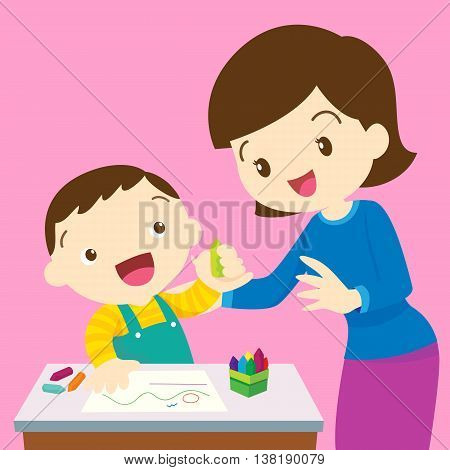 Illustration of a Mother Teaching Her Son.