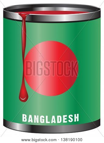Tin with paint the symbolic color of the flag State of Bangladesh.